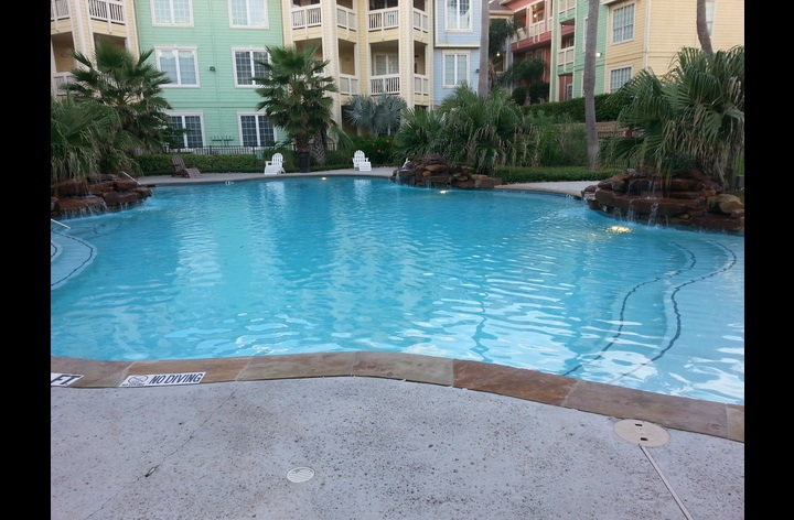 one of two pools in the gated community