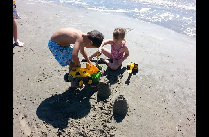 Galveston, Texas - my grand kids playing on the beach